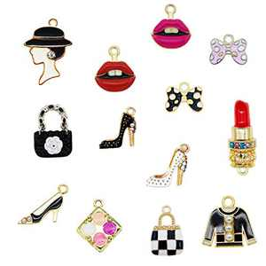 Vusnud Designer Charms, Designer Charms for Bracelets, Designer Charms for Bracelet Making, Assorted Enamel Charms Lipstick Perfume Makeup Charms