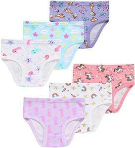 Christmas Girls Soft Cotton Underwear Toddler Kids Assorted Briefs(Pack of 6) 3T