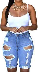 onlypuff Light Blue Distressed Denim Pants Women Mid Waist Skinny Shorts Ripped Jeans with Holes M