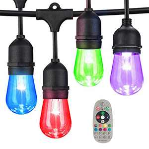 48FT Color Changing Outdoor String Lights, Dimmable Patio String Lights for Outdoor Indoor, Waterproof Hanging Light for Backyard, Garden, Party, Remote Control Decor