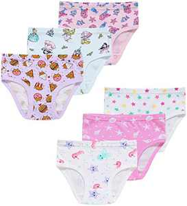 Girls Unicorn Underwear Children Mermaid Briefs Toddler Kids Stars Undies Panties(Pack of 6) 3T