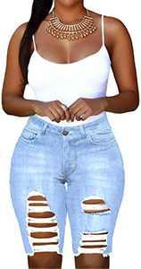 onlypuff Mid-Rise Frayed Raw Hemline Ripped Pockets Jeans Women's Strechy Distressed Light Blue Denim Shorts S