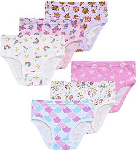 Christmas Girls Cotton Underwear Toddler Kids Cute Panties Assorted Briefs(Pack of 6) 3T