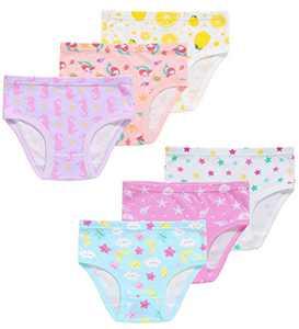 Girls Christmas Mermaid Star Moon Underwear Cotton Panties Briefs Gift Set (Pack of 6) 2T