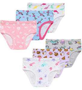 Little Girls Dolphin Underwear Christmas Kids Cotton Briefs(Pack of 6) 3T