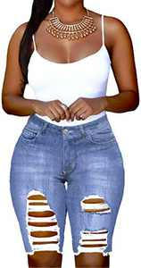 onlypuff Holy Denim Shorts for Women Frayed Stars with Pockets Summer Jeans Blue S