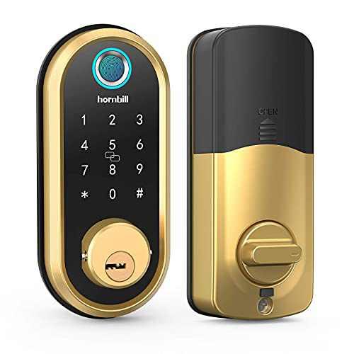 Smart Lock Deadbolt, Fingerprint Door Lock with Touch Screen Keypads, Bluetooth Electronic Keyless Entry Door Lock, Featuring Security Auto Lock, APP Control, Compatible with Alexa, Google Assistant