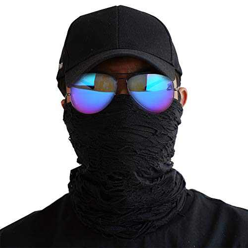 Fashion Ripped Neck Gaiter Face Mask Men Scarf Reusable Face Coverings for Biking Cycling Hiking Running(Black)
