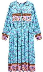 UIMLK Boho Maxi Dresses for Women Casual Summer, Cotton Long Sleeve Floral Print Tassel Bohemian Midi Dresses with Pockets,10-XL
