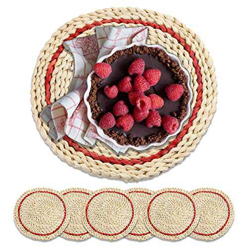 Woven Placemat Natural Corn Skin Handmade Rattan—Red and Blue,Heat-Resistant, Heat-Insulation and Anti-Skid,ForPlacemats for DiningTable (Round) (red)
