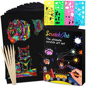 Lamly Zone Scratch Art Paper for Kids ,50pc Rainbow Magic Scratch Paper Black Scratch Off Art Crafts Notes Boards Sheet with 5 Wooden Stylus for Easter Party Game Christmas Birthday Gift