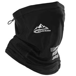 Neck Gaiter Face Mask Men Women Reusable Face Cover Breathable Neck Wraps Adjustable Dust UV Protect Bandana (Black)