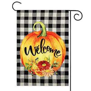 Fall Decor - Fall Decorations - Welcome Pumpkin Fall Garden Flag w Double Sided - 12x18 Inch Buffalo Check Plaid Burlap Flags for Autumn Halloween Thanksgiving Harvest Home Farmhouse Outdoor Yard Sign