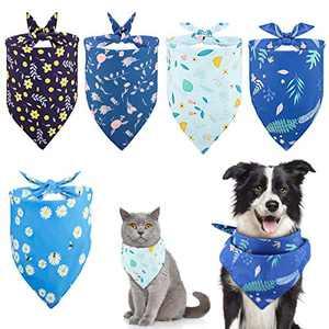 Lewondr 5 Packs Pet Bandanas, Floral Printing Washable Seasonable Bandana Triangle Bibs Scarf Accessories Soft Breathable Dog Kerchief Scarf Reversible Triangular Scarf for Dog Cat Puppy Kitty
