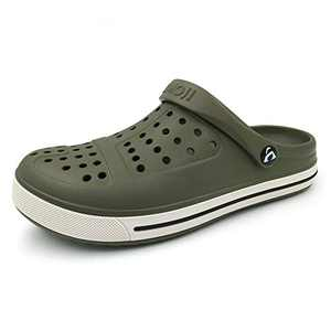 Amoji Gardening Shoes Garden Clogs Shoes Garden Shoes Crock Water Clogs Yard Shoes Adult Male FemaleCL1820 Olive Size 6.5 Women/5 Men