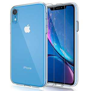 EMZHOLE Case for iPhone XR Case with Screen Protector,Floral Pattern Clear Design Transparent Hard Slim Case with TPU Bumper Protective Cover Compatible with iPhone XR 6.1 Inch - Clear