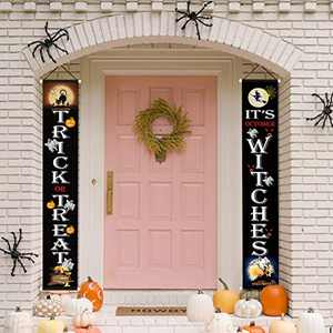 Halloween Decorations Outdoor, Trick or Treat & It's October Witches Banners Hanging Sign for Front Door or Indoor Home Decor   Porch Decorations   Halloween Welcome Signs