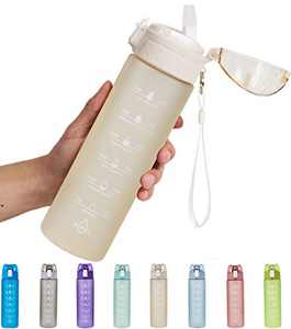 NOOFORMER 24oz Motivational Water Bottle with Time Marker & Straw- Water Tracker Bottle Leakproof BPA Free for Fitness Sports Outdoors and Office