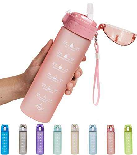 NOOFORMER 24oz / 32oz Motivational Water Bottle with Time Marker & Straw- Water Tracker Bottle Leakproof BPA Free for Fitness Sports Outdoors and Office