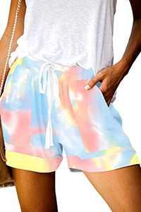 KISSMODA Muticolor Summer Shorts for Women Casual Comfy Elastic Waistband Shorts Tie Dye L