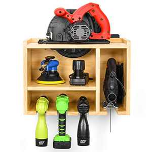 Power Tool Organizer, Drill Charging Station, Circular Saws Jig Saw Drill Impact Driver Wall Storage Holder (Need Assemble)