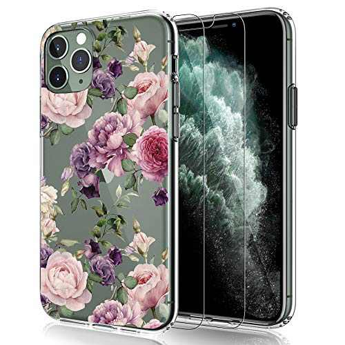 EMZhole Case for iPhone 11 Pro Case with 2 Screen Protector,Clear Floral Pattern Design Transparent Hard Slim Case with TPU Bumper Protective Cover for iPhone 11 Pro 5.8 Inch - Purple Flower
