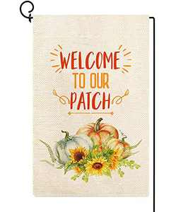 Baccessor Welcome to Our Pumpkin Patch Fall Small Garden Flag Vertical Double Sided 12.5 x 18 Inch Farmhouse Harvest Autumn Burlap Yard Outdoor Outside Decor