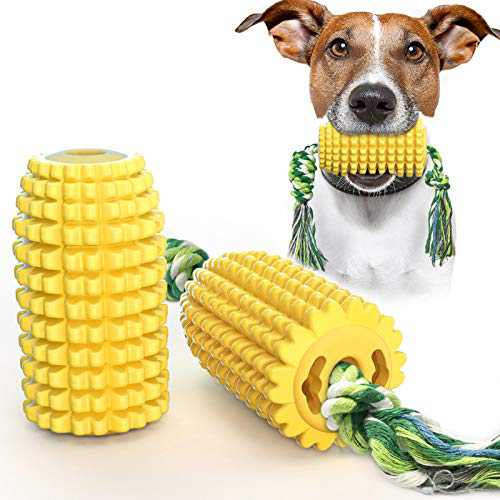 USWT Corn-Shaped Dog Toys Puppy Toy Dogs Supplies Dog Float Toy Food Dispenser Molar Toothbrush Chew Rope Super Bite-Resistance Material Anti-Destruction Video Display