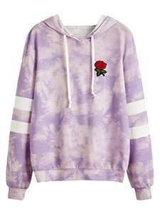DIDK Women's Embroidered Rose Patch Stripe Sleeve Tie Dye Hoodie Sweatshirt Purple and Pink XS