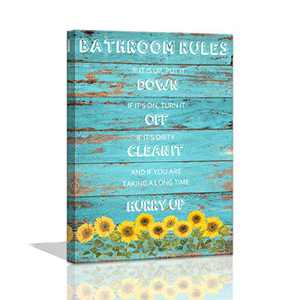 Bathroom Rules Wall Decor Sunflower Canvas Wall Art Yellow Sunflower Pictures Canvas Prints for bathroom Wood Teal Wooden Planks Background Wall Decor Canvas Art Prints Artwork for Walls Ready to Hang
