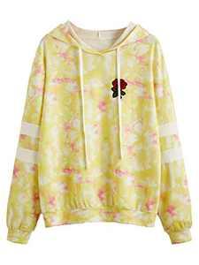 DIDK Women's Embroidered Rose Patch Stripe Sleeve Tie Dye Hoodie Sweatshirt Yellow M