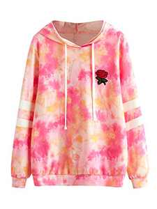 DIDK Women's Embroidered Rose Patch Stripe Sleeve Tie Dye Hoodie Sweatshirt Multicolor L