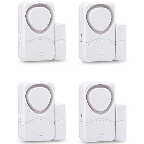 Wsdcam Door and Window Alarms for Home Security, 110dB Magnetic Sensor Alarm, Pool Door Alarm for Kids Safety, 4-in-1 Mode Small Wireless Door Alarms 4 Pack - White