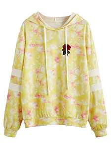DIDK Women's Embroidered Rose Patch Stripe Sleeve Tie Dye Hoodie Sweatshirt Yellow XS