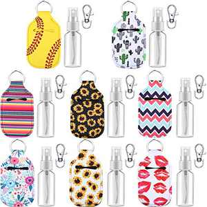 24 Pieces 8 Sets Bottle Keychain Holders, Includes Neoprene Keychain Holder, Keyring Clips and 30 ml Portable Travel Spray Bottle Refillable Empty Containers for Travel Outdoor Activities School