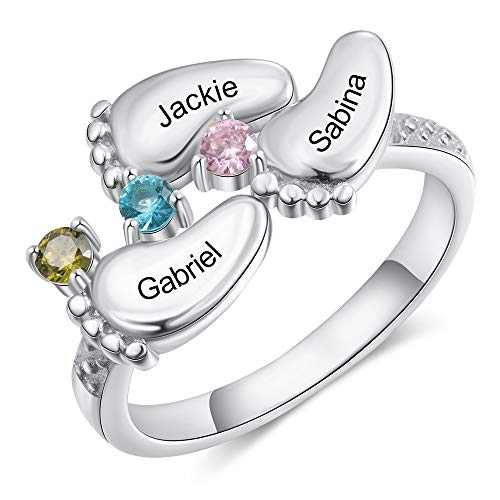 Personalized Mothers Rings with 3-4 Simulated Birthstones Womens Names Mother Rings for Family (Silver 3 Name, 6)