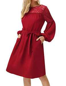 Women Casual Long Sleeve Lace Pleated Flare A-line Swing Dress with Belt Wine L
