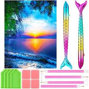 DIY 5D Diamond Painting Kits for Adults Crystal Diamond Number Kits with Full Round Drill 14 x 18 Inches Canvas and Painting Pens, Glue Clay, Plastic Trays for Sunny Pattern DIY Painting Supplies