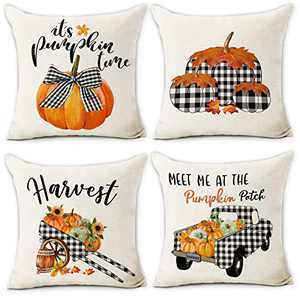 Hexagram Fall Pillow Covers 18x18 Buffalo Plaid Pumpkin Trcuk Fall Throw Pillow Covers Set of 4 Harvest Cotton Line Fall Decorations for Home Cusion Case for Couch Living Room