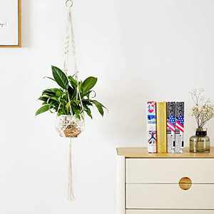 Delxo Plant Hangers 1 Pc Indoor Outdoor Wall Hanging Plant Holder with 10 Hooks Handmade Cotton Hanging Planter Basket Stand Flower Pot Holder for Bohemian Wall Home Decor