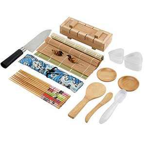 Colovis 19 PCS Sushi Making Kit,Including 2 Sushi Mats,1 Sushi Making Mold, 1 Sushi Knife, 12 PCS of Chopsticks kit with Storage Bag, 1 Warship Sushi Mold and 2 Origin Mold , Bamboo Sushi Roller Kit