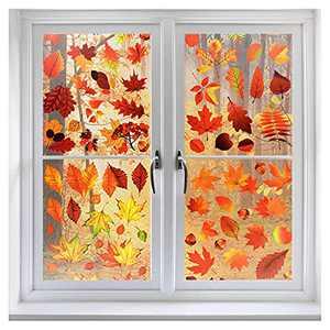 Coavas Window Sticker Thanksgiving Decorations for Home Window Sticker Fall Decor Maple Leaf Stickers Window Clings Autumn Stickers Thanksgiving Windows Refrigerator Decorations(8 Packs,174 PCS)