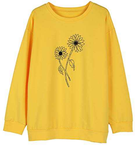 KIDDAD Womens Flower Graphic Printed Sweatshirt Casual Long Sleeve Floral pullover Top Shirts Yellow