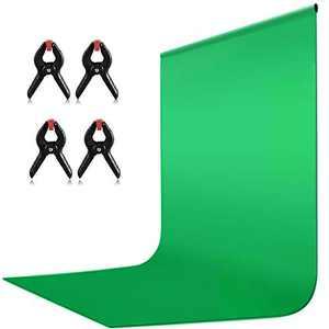 HIFUAR 9 x 6 ft Green Screen, Green Photography Backdrop Background, Green Chromakey Panel for Photo Backdrop Video Studio, Muslin Background Screen for Photo Video Studio, 4 Backdrop Clip