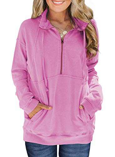 Women's Casual Autumn Pullover Sweatshirts Full Sleeve Loose Fit Warm Tunic Tops with Pockets Clothes Pink S