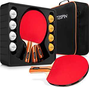 T2SPin Ping Pong Paddles Set of 4 - Hi Performance Table Tennis Paddles - 8 x 3 Star Ping Pong Balls - Bonus Table Tennis Racket Cover - Ping Pong Paddle Case - Ping Pong Set for All Players