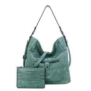 Women Shoulder Handbag Purse Top-Handle Hobo Roomy Casua Ladies' Shoulder Bag Fashion PU Tote Satchel Bag for Women (C-KL5208#687#22QUEEN GREEN)