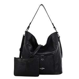 Women Shoulder Handbag Purse Top-Handle Hobo Roomy Casua Ladies' Shoulder Bag Fashion PU Tote Satchel Bag for Women (E-KL5208#687#1BLACK)
