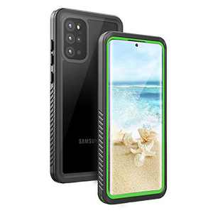 Fansteck Samsung Galaxy Waterproof S20 Plus Case, Underwater Phone Case with Built in Screen Protector and Fingerprint Compatible, Full Body Shockproof Protective Cover for S20 Plus (Green & Clear)