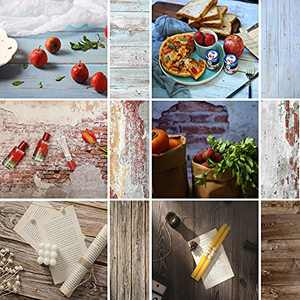 Meking 3pcs Double Sided Photo Backgrounds for Photography, Brick & Wood Texture Backdrop Paper for Foodies, Bloggers, Cosmetic Sellers, Online Stores Small Product & Food Shoot, 34x22in